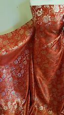 """2M red /gold COLOUR FLORAL METALLIC BROCADE /JACQUARD FABRIC 58"""" WIDE"""