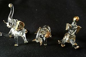 Chinese zodiac Hand Blown Glass Lucky Figuines (3 Style of Elephant sets)