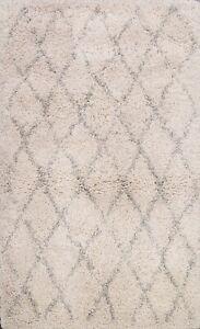 Soft Plush Modern Ivory Wool Trellis Shaggy Turkish Oriental Area Rug 4x6 Carpet