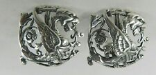 Sterling Silver Winged Mythological Dragon Clip On Earrings