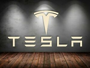Tesla Logo and Letters Sign Garage Wooden Gift Large Size Free Shipping mount in