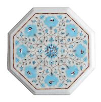 """13"""" White Marble Coffee Table Top Mosaic Turquoises Floral Inlay Home Decor W154"""