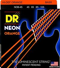 DR NOB-45 4 string Hi-Def Neon Orange Coated Bass Guitar Strings 45-105 MED