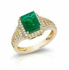 14k Yellow Gold Emerald Diamond Anniversary Wedding Ring