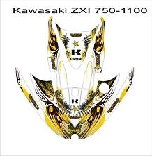 KAWASAKI ZXi 750 1100 jetski Graphic Kit Wrap pwc decals stickers yellow tribal