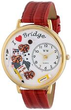 Whimsical Watches G0430001 Bridge Lover Orange-Red Leather Gold-tone BRAND NEW!!