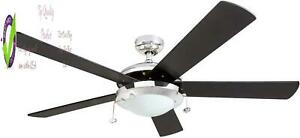 """Prominence Home 80100-01 Bolivar Chrome Contemporary Rustic Ceiling Fan, 52"""" Led"""