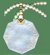 ROUND/OCTAG. Pendant c.1770 Engraved CHINESE PEARL GAME TOKEN VERMEIL FANCY BALE