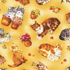Fat Quarter Furry Friends Cats Tan Cotton Quilting Fabric  Fabri Quilt