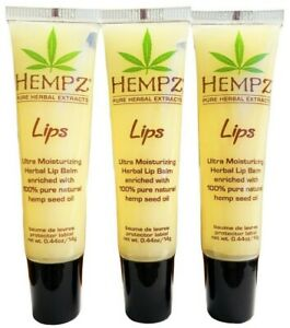 HEMPZ Pure Herbal Extract Lips Ultra Moisturizing Herbal LIP BALM .44oz SET OF 3