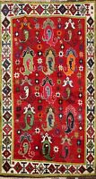 Paisley Geometric Gabbeh Kashkoli Wool Area Rug Hand-Knotted Tribal Carpet 4x6
