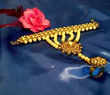 NEW PEARL STONES  CHAIN PANJA RING BRACELET HAND JEWELLERY BRONZE GOLD SET 2 PC