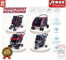 Folding Travel Outdoor Cat Dog Cart Carrier Pet Stroller Rain Cover Waterproof