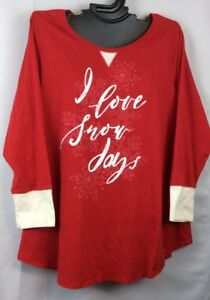 14/16 Cacique Lane Bryant RED Soft Comfortable Long Sleeve Plus Sleep Top Shirt