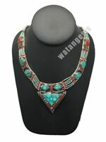 Ethnic Tribal Nepalese Green Turquoise & Red Coral Inlay Statement Necklace,E275