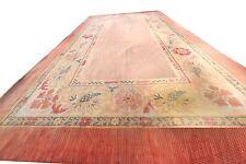 1860s Rare Authentic Antique French Aubusson Fine Flat Woven Carpet Pink 8'x13'