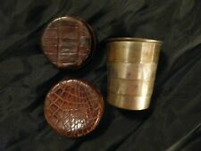 Antique Vintage COLLAPSIBLE CUP w/ Brown LEATHER CASE Travel Drinking