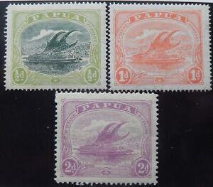 Papua Scott # 34-36, Mint Original Gum (HR)