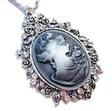 GRAY SILVER CAMEO rose crystal rhinestone Victorian Gothic Romantic NEW Z5