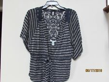"""junior size L """"Love By Design"""" Navy Blue Tan Open Front Top Lace Back Tie Front"""