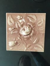 Vintage Cambridge Victorian Tile with Raised ROSE motif - blush pink