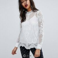 River Island Women's White/Cream/Grey Lace High Neck Long Sleeve Top, RRP £35