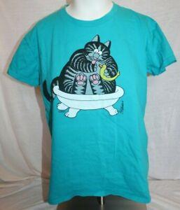 Crazy Shirts Hawaii Original B. Kliban Rubber Ducky Cat Turquoise Blue T-Shirt S