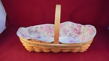 Pre-owned Longaberger 2001 May Series Peony Basket combo w/cloth & plastic liner