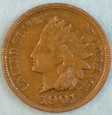 1901 Indian Head Cent Vintage Penny Old US Coin Liberty Full Rims Fast S&H 502
