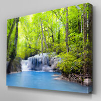 C395 Forest Waterfall Pool Canvas Wall Art Ready to Hang Picture Print