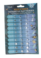 30 Pack Button Cell Batteries Assorted Size High Power Battery Life Replacement