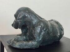 Milla Chien et Chiot Statue Sculpture terre cuite couleur bronze H13/L24/P13cm