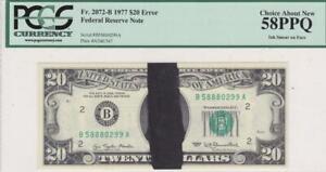 Ink Smear on Face Error Note $20 PCGS 58 PPQ Missing Jackson  Fr 2072-B FRN