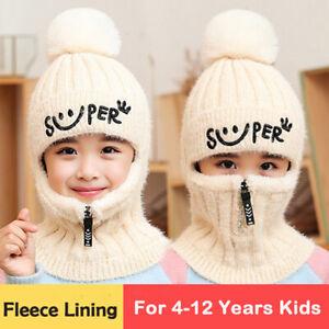 Winter Kids Warm Hat Scarf Girls Boys Fleece Pompom Beanie Earflap Hood Scarves