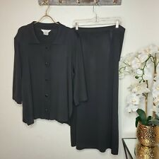 Exclusively Misook 1X Two Piece Set Button Cardigan Skirt Black Outfit
