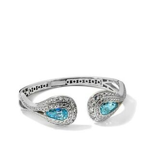 """HSN Jean Dousset 14.7CT Absolute Simulated Aquamarine Sterling Silver 7"""" Bangle"""