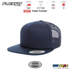 FLEXFIT FORM TRUCKER MESH CAP BLANK FLAT BILL with White Front Snapback 6005FF