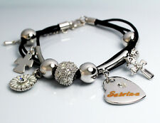 Genuine Braided Leather Charm Bracelet With Name - SABRINA - Gifts for her