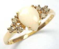 ELEGANT 10KT YELLOW GOLD PEAR CUT OPAL & DIAMOND RING SIZE 7   R1126