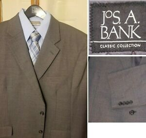 Jos A Bank Men's Solid Gray Suit 48R Pleated Pants 44x30 Classic Collection #116