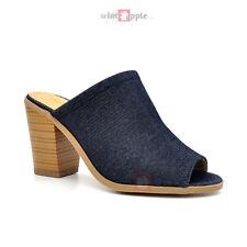 21627918c371 Women Open Toe Slip on SLIPPER Backless Sandal Stacked Heel Blue Denim Size  7