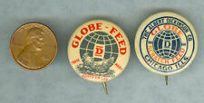 2 OLD GLOBE FEED PIN BACKS CHICKEN & GLOBE * NOW ON SALE + FREE USA SHIP * AD258