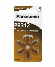6 hearing aid batteries - Panasonic PR312, PZA312, PR41 in blister pack