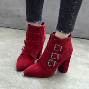 Womens Buckle Strap Ankle Boots Suede Military Block High Heels Shoes Plus Size