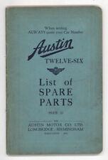 Austin Twelve-Six List of Spare Parts   Softcover
