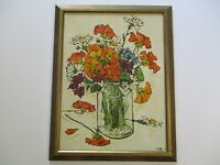 EVANS 1970'S STILL LIFE PAINTING MODERNIST IMPRESSIONIST POPPIES FLOWERS FLORAL