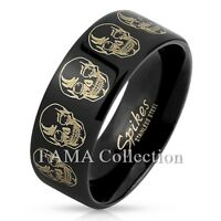 FAMA 8mm Stainless Steel Skull Design Etched Black IP Ring Band Size 9-13