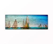 Segelboot Regatta abstrakt Panorama Bild auf Leinwand gerahmt XXL Druck Deko