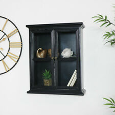 Rustic Black Glass Wall Cabinet shelving shelf vintage industrial bathroom decor