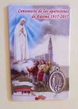 Nuestra Señora de Fátima, Estampita en Cartulina,con Medalla De Fátima, Portugal